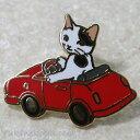 猫ピンズ ミニカー 白黒猫★ポタリングキャット(ピンバッチ 猫雑貨 ネコグッズ ねこ キャット)