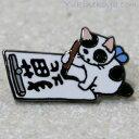 猫ピンズ 書道 ぶち猫★ポタリングキャット(ピンバッチ 猫雑...