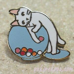猫ピンズ キャンディポット 白猫★ポタリングキャット(ピンバッチ 猫雑貨 ネコグッズ ねこ キャット)