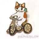 ショッピング三輪車 猫ピンズ 三輪車 白茶猫★ポタリングキャット(ピンバッチ 猫雑貨 ネコグッズ ねこ キャット)