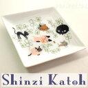 【Shinzi Katoh】アニーブンキャッツ スクエアプレート・角皿(猫とクローバー)(ティトレイ 小皿 ミニプレート 猫雑貨 ねこ雑貨 ネコ雑貨 猫グッズ ねこグッズ ネコグッズ キャット)
