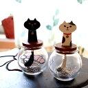 【猫のクリップ入れ】木製 猫しっぽクリップボトル★デコレ(DECOLE)miranda(クリップホルダー 猫雑貨 ネコグッズ ねこ キャット)