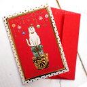 猫のグリーティングカード 白猫クリスマスカード ミニ(金箔押し エンボス加工)(封筒付き 冬 メッセージカード 猫雑貨 ネコグッズ ねこ キャット)EC