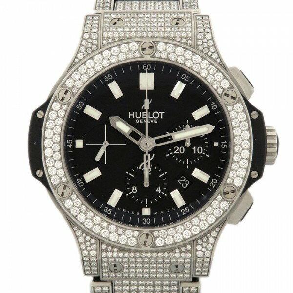 ウブロ HUBLOT ビッグバン スチール パヴェ 301.SX.1170.SX.3704 ブラック文字盤 メンズ 腕時計 【中古】