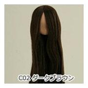 オビツボディ 【オビツ製作所】オビツドール 植毛ヘッド 11-01 ナチュラル ダークブラウン人形の頭 ウィッグ 髪の毛付き