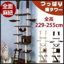 キャットタワー 突っ張り 全面麻紐 爪研ぎ つっぱり猫タワー 全高229-255cm ハンモク
