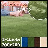 低反発 ラグ 厚手 極厚20mm 200×200 2畳 洗える ラグマット ホットカーペット対応 グリーンも 床暖房対応 top2984