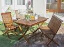 チーク天然木 折りたたみ式本格派リビングガーデンファニチャー 4点セット(テーブル+チェア2脚+ベンチ1脚) チェア肘有 (テーブル幅 W120)(テーブル幅 W120) チェア イス 椅子
