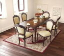 【送料無料】エクステンションクラシックダイニング フランソワーズ 7点セット(テーブル+チェア6脚) チェア肘なし (テーブル幅 W140-180)(カラー ホワイト) イス 椅子 白