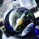 【送料無料!】1点物、土星&地球ガラスネックレス part2/メンズネックレス/土星&宇宙ガラスネックレス/ガラスペンダント 宇宙/宇宙ネックレス/メンズペンダ...