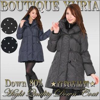 Shawl collar A line down coat down 80 percent dot pattern black Navy premium down jacket Down M L / ribs go? / down coat / down / Court / down coat / fur / fur / delivery immediately shipped P23Jan16