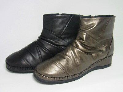 532P17Sep16 日本製 ショートブーツ 革・ふかふか底黒 本革 レディース 靴 痛くない靴 疲れない靴yuriko matsumoto ふかふかの低反発底にパッチワークのデザイン!ファスナーで脱ぎ履き楽々レディース ショートブーツ 本革  靴