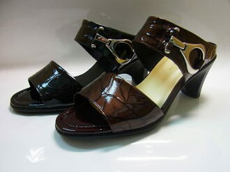Ladies Shoes モールドソール-rose leather with a mule black heels