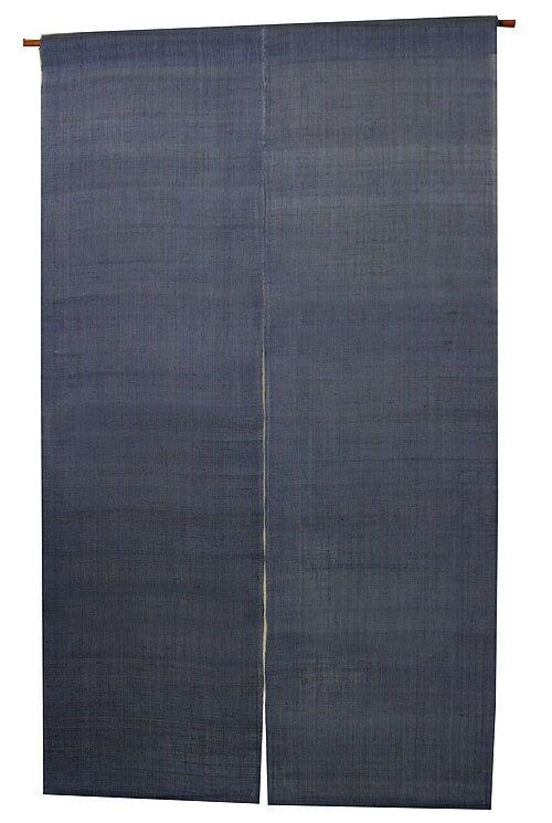麻 のれん・無地紺藍色 (手織り本麻暖簾) ●サイズオーダー可