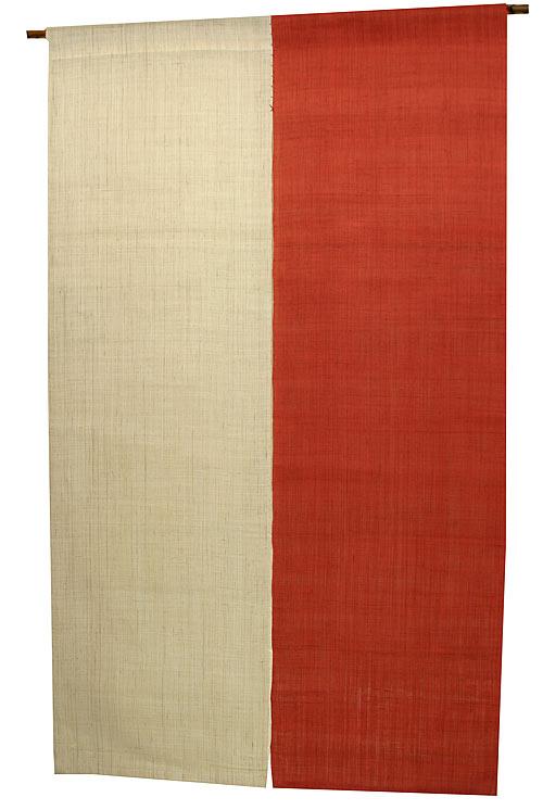 麻 のれん・2色べんがら色(手織り本麻暖簾) ●サイズオーダー可