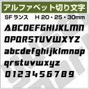 送料無料【16文字までセット アルファベットステッカー SFランス01 オーダー切り文字 高さ20m