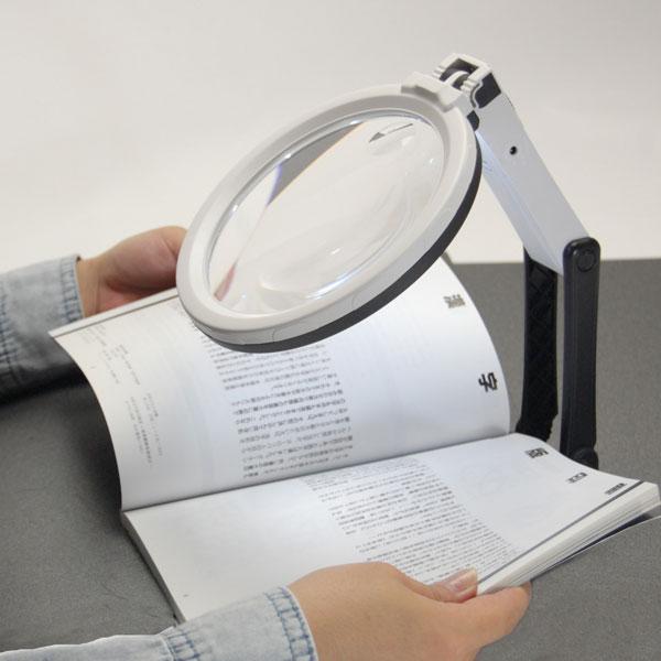 眼鏡・サングラスルーペLEDライト付ルーペセットスタンドタイプとハンドタイプのルーペセットSW-02