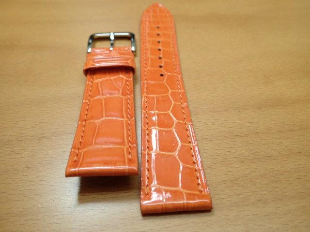 18mm 20mm 時計バンド (腕時計) ベルト クロコダイル ワニ オレンジ 茶 バネ棒 サービス 腕時計用 時計ベルト 時計用バンド 525円で販売しています バネ棒をサービスでお付けします 全国送料180円のメール便がご利用いただけます。新品のバネ棒を2本サービスでお付けします。