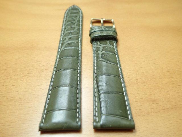 18mm 時計バンド (腕時計) ベルト アリゲーター (ワニ) グリーン (緑) バネ棒 サービス 腕時計用 時計ベルト 時計用バンド 525円で販売していますバネ棒をサービスでお付けします 全国送料180円のメール便がご利用いただけます。新品のバネ棒を2本サービスでお付けします。