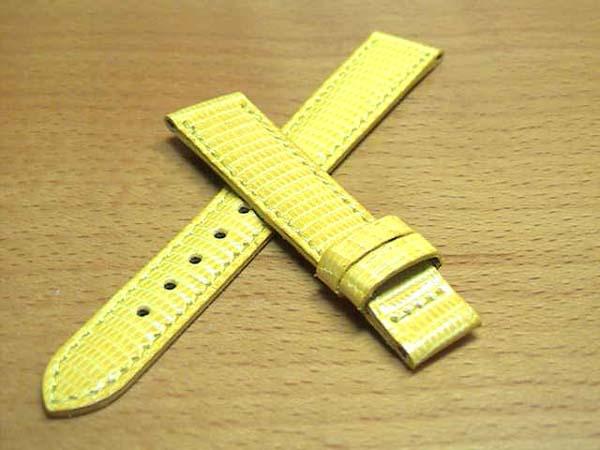 14mm Jeand' Eve ジャンイブ 純正 時計バンド (腕時計) ベルト トカゲ (リザード) 黄色 (イエロー) 腕時計用 時計ベルト 時計用バンド