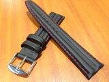 ズッコロ ZRC ラバーコ−ティング 時計 バンド ベルト 18mm or 20mm 赤色ステッチ フランス製 このほかに 黒色 黄色 青色ステッチがございます