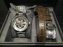 オリエント ORIENT 腕時計 ORIENTSTAR オリエントスター ワールドタイム 機械式 自動巻き (手巻き付き) グレー WZ0051JC メンズ 替えバンド付き:(ブラウングレー、プッシュ三つ折式)