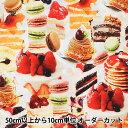 【数量5から】 生地 『インクジェットプリント オックス生地 ケーキ 45012』