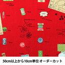 【数量5から】 生地 『綿麻キャンバス ソーイング柄 YUZ-753-6』 YUWA 有輪商店