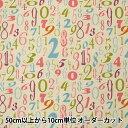 【数量5から】生地 『綿麻キャンバス 数字柄 YUZ-770-3』 YUWA 有輪商店【ユザワヤ限定商品】