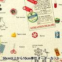 【数量5から】 生地 『綿麻キャンバス ソーイング柄 YUZ-753-1』 YUWA 有輪商店【ユザワヤ限定商品】