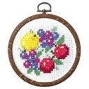 クロスステッチ刺繍キット オリムパス プチフープ フルーツ&フラワー ブルーベリーのフルーツリース 7447