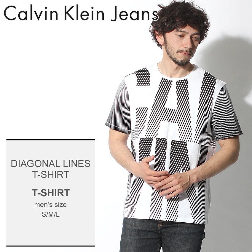 【クーポンで100円引き】 【メール便可】 送料無料 CALVIN KLEIN JEANS カルバンクラインジーンズ Tシャツ ホワイトディアゴナル ライン Tシャツ DIAGOAL LINES T-SHIRT41G5603 100 メンズ