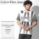 【メール便可】 送料無料 CALVIN KLEIN JEANS カルバンクラインジーンズ Tシャツ ホワイトディアゴナル ライン Tシャツ DIAGOAL LINES ..