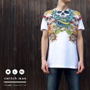 ポイント15倍 Tシャツ ユニセックス ホワイト 恐怖 ホラー 怖い スカル&フラワー 骸骨 ゾンビ Tシャツ(switchman) STMTSHIRT8 C-DIRECT