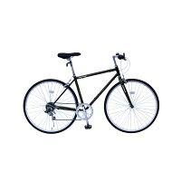 6段変速 クロスバイク 【ブラック】 700C スチール 幅169cm×奥行53cm×高さ100cm サドル83cm〜101cm 重量17kg 『FIELD CHAMP』【代引不可】の画像