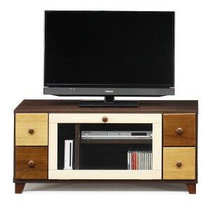 日本製 天然木 TV台 【101cm幅 ブラウン本体】 完成品