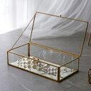 ガラスと真鍮でできた ジュエリーボックス (63280) ガラスボックス おしゃれ ガラスケース アクセサリーケース アクセサリー入れ 四角 ..