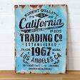 【California】ヴィンテージ風 サインボード(65210)【サインプレート アンティーク調 ブリキ看板 ヴィンテージ調 デザインボード アンティーク風 TINプレート 西海岸 男前 インテリア 雑貨 ブルックリン ビーチ マリン 店舗用 オブジェ 看板】 05P03Dec16