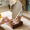卓上ミラー オーバル型 真鍮フレーム 天然木台 角度調整対応
