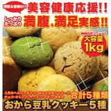 【レビュー書いて】しっとり豆乳おからクッキー 1kg くっきー!訳あり おから豆乳クッキー1kg 5種セット(チョコレート、オレンジ、チーズ、シナモン、抹茶)【RCP】