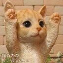 猫 置物 リアル ねこ ネコ キャット リアルな猫の置物 お願いキャット3 チャトラ 動物オブジェ ガーデンオーナメント 装飾 フィギュア モチーフ インテリア 玄関先 庭 雑貨