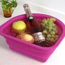 新感覚♪ 折りたたんで収納できる!シリコン製の洗い桶(タライ)【 シリコンウォッシュタブ D型 】 食器に優しいシリコンウォッシュタブ。果物、飲み物を冷やすのにも便利!【 シリコンウォッシュタブ D型 】 シリコン洗い桶 D型 / Silicone WASH TUB D-shape / たらい / タライ / キッチン用品 /