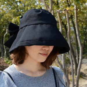 帽子UV女優帽女優帽つば広レディースUVカット紫外線つば広フリーサイズ無地シンプルリボン小顔コンパクトおしゃれかわいい