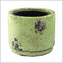 カラフルシャビーRDポット M GREEN プランターカバー ポット プランター ガーデニング 雑貨 インテリア カラフル グリーン 鉢カバー