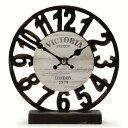 オールドルックロック テーブル スケルトン ブラック 時計 置時計 アナログ アンティーク アメリカン雑貨