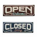 エンボス OPEN/CLOSE プレート ブラウン/ネイビー サインボード プレート OPEN CLOSE インテリア ディスプレイ カフェ リビング バー