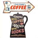 サインプレート2個セット(CAFE)タ゛イカット ティンサイン コーヒーホ゜ット&ティンサイン ホ゛ート゛ アロー COFFEE ブリキ 看板 セット コーヒー レトロ アンティーク 雑貨 壁掛け アメリカン雑貨 サインボード 英語