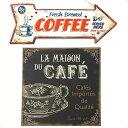 サインプレート2個セット(CAFE)GARE TINPLATE CAFE &ティンサイン ホ゛ート゛ アロー COFFEE ブリキ 看板 セット コーヒー レトロ アンティーク 雑貨 壁掛け アメリカン雑貨 サインボード 英語