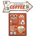 サインプレート2個セット(CAFE)エンホ゛スカフェサイン エスフ゜レッソ&ティンサイン ホ゛ート゛ アロー COFFEE ブリキ 看板 セット コーヒー レトロ アンティーク 雑貨 壁掛け アメリカン雑貨 サインボード 英語