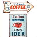 サインプレート2個セット(CAFE)エンホ゛スティンサイン コーヒー&ティンサイン ホ゛ート゛ アロー COFFEE ブリキ 看板 セット コーヒー レトロ アンティーク 雑貨 壁掛け アメリカン雑貨 サインボード 英語
